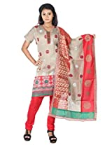 B3Fashion semi stitched Beige colour chanderi salwar suit beautifully adorned with embroidery and embellishments with red cotton bottom and heavy bordered brocade and cotton dupatta