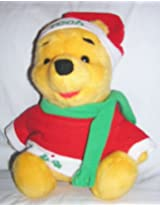 "1996 Disney 14"" Plush Christmas Winnie The Pooh Doll By Mattel"