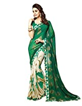 Roop Kashish Georgette & Satin Saree (6001 _Green)