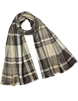 Casual Chic Plaid Stripes Viscose Long Scarf - Brown
