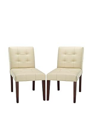 Safavieh Set of 2 Gavin Tufted Side Chairs, Cream