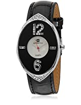 L6025 Black/White Analog Watch
