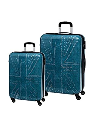 Pepe Jeans Set de 2 trolleys rígidos Flag Azul Petróleo
