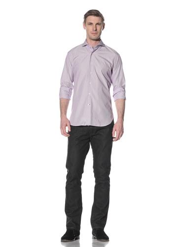 Orian Men's Cutaway Collar Washed Slim Fit Sport Shirt (Purple/white)
