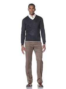 Cruciani Men's Classic V-Neck Sweater (Navy Blue/White)