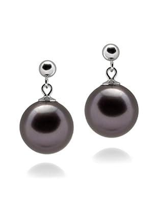 Perldor - 60401117 Pendientes de mujer de Gris de ley con perla natural Negro