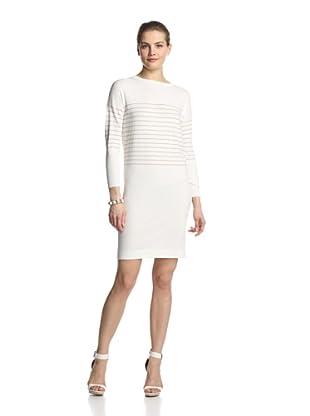 SVEE Women's Striped Dress (White/Nude)