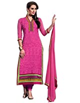 Vibes Womens Georgette Patch Work Straight Unstitched Dress Material (V182-5603 _Pink)