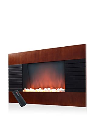 Trademark Global Mahogany-Effect Electric Fireplace Heater with Remote