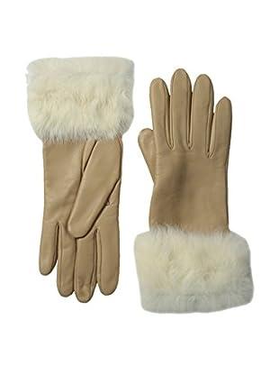 Portolano Women's Leather Gloves with Rabbit Fur Cuff (Natural/Cream Rabbit)
