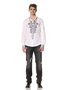 Just Cavalli Men's Embellished Button-Front Shirt (White)