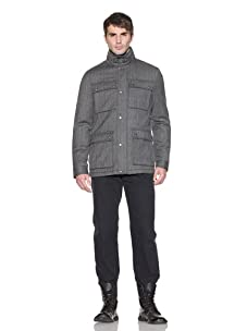 John Varvatos Men's Herringbone Utility Jacket (Ebony)