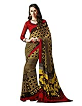 Yellow Color Georgette Printed Saree with Blouse 7025