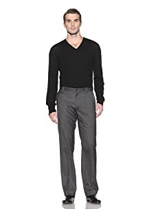 John Varvatos Collection Men's Flat Front Herringbone Pant (Concrete Heather)