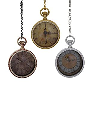 Winward Set of 3 Handcrafted Pocket Watch Glass Ornaments, Gold/Silver
