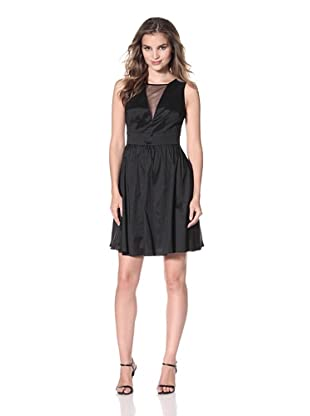 Hailey Women's Fit-and-Flare Dress with Mesh (Black)