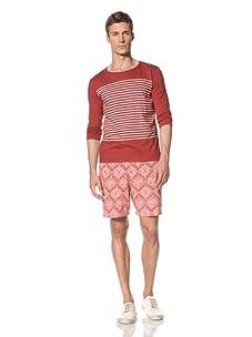 Vanishing Elephant Men's ¾ Sleeved Striped Sailor T-Shirt (Maroon/Tan Stripe)