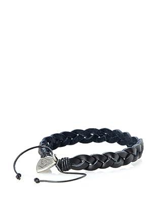 English Laundry Men's Black Braided Leather Bracelet