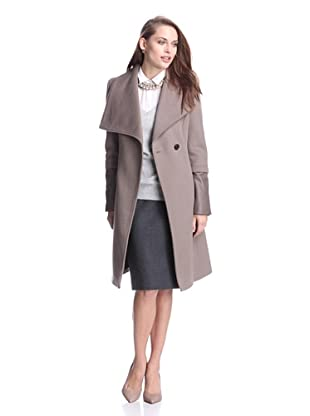 Elie Tahari Women's Carlotta Wool Coat with Leather Trim (Mink)