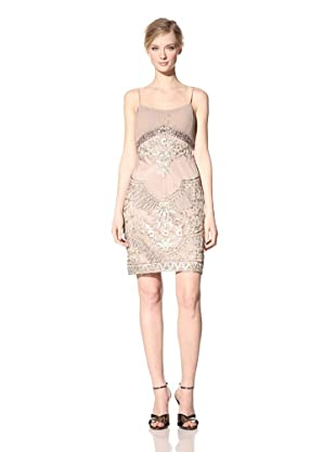Sue Wong Women's Embellished Empire Waist Dress (Taupe)