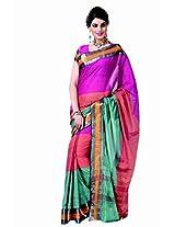 Pink Ornange Green Color Cotton Blend Saree by Roop Kashish ( lama )