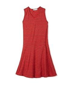 eggi kids Girl's V-Neck Tank Dress (High Risk Red Stripe)