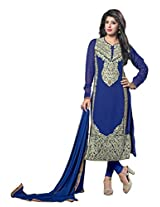 7 Colors Lifestyle Blue Coloured Embroidered Georgette Semi-Stitched Salwar Suit