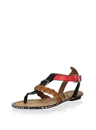 Matiko Women's Lucca Braided Thong Sandal (Black/Papaya)