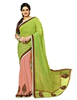 B3Fashion Partywear half-n-half saree in Light pink with embroidered motifs
