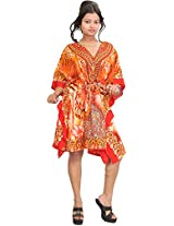 Exotic India Floral Printed Short Kaftan with Dori at Waist - Color Red And OrangeGarment Size Free Size