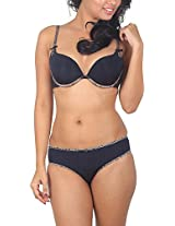 Sugar Lips Satin Lingerie Set (K45, Black, 36C)