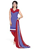 BanoRani Womens Blue Color Casual & Printed PolyCotton Ladies Unstitched Salwar Suit Dress Material with Printed Dupatta