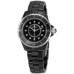 Chanel Women's H1625 J12 Diamond Black Dial Watch