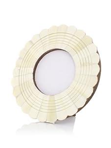 Purva Round White Bone Engraved Frame (White)