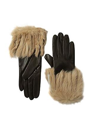Portolano Women's Leather Gloves with Fringed Rabbit Fur Cuff (Teak/Camel)