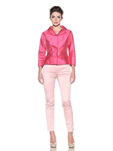 D&G by Dolce & Gabbana Women's Jacquard Fitted Jacket (Pink)