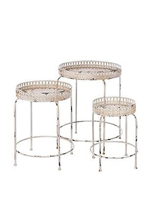 Skalny Set of 3 Round Metal Tables, White