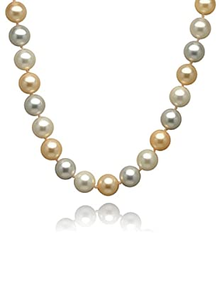 Perldor 60650040 - Collar de mujer de plata de ley con perla natural Gris/Dorado 52 cm