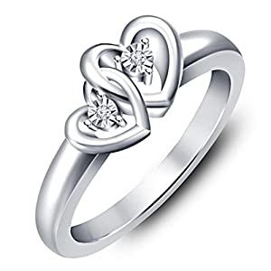 Vorra Fashion Platinum Plated .925 Silver Ring For Women (White)