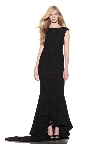 Christian Siriano Women's Boucle Backless Trumpet Dress (Black)