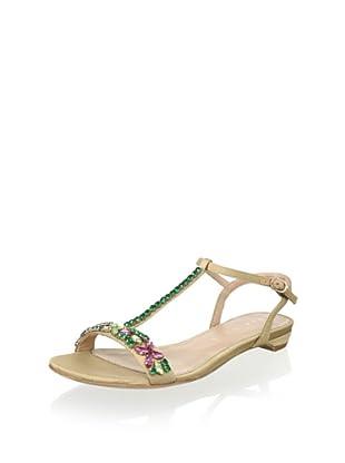 Lola Cruz Women's Jeweled Flat Sandal (Bever)