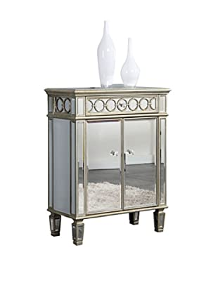 Audrey 2-Door Mirrored Cabinet, Silver Leaf