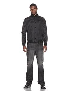 Grind Men's Feather Baseball Windbreaker Jacket (Black)