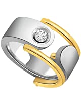 Two Tone Solitaire Mens Diamond Ring