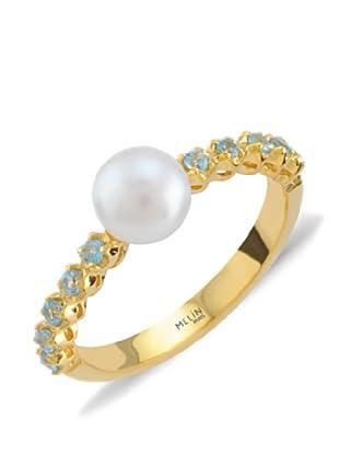 Melin Paris Anillo Perla Blanca & Topacio Azul