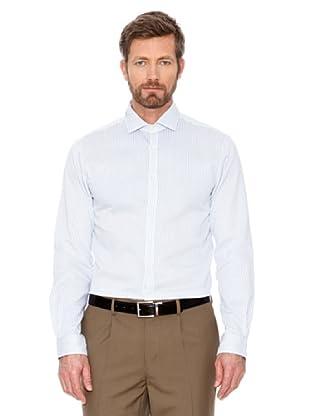 Cortefiel Hemd Gestreift (weiß/weiß)