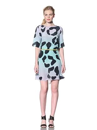 House of Holland Women's Leopard Print Short Sleeve Dress (Purple/Green)