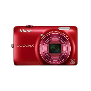 Nikon COOLPIX S6300 16 MP Digital Camera with 10x Zoom NIKKOR Glass Lens and Full HD 1080p Video (Red) (OLD MODEL)