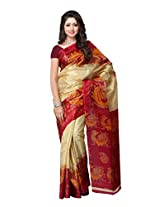 Ambaji Beige Coloured Taffeta Printed Saree