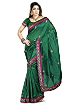 Zoom Embroidered Saree (3128_Green)